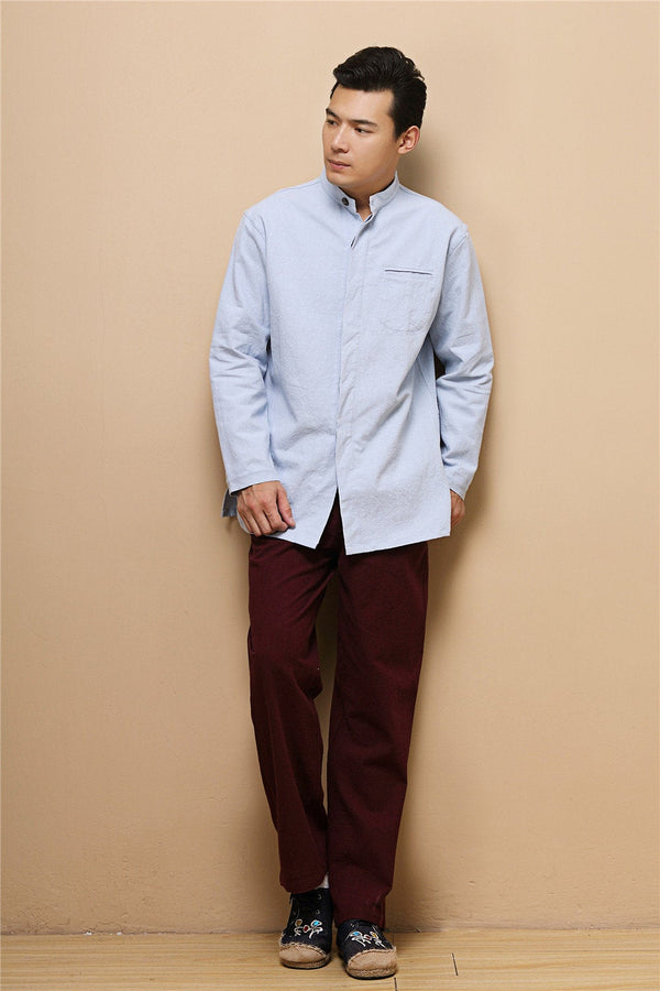 SALE! 2020 NEW! Men Ethnic Hangfu Kungfu Zen Style Men Long Sleeve Linen and Cotton Top