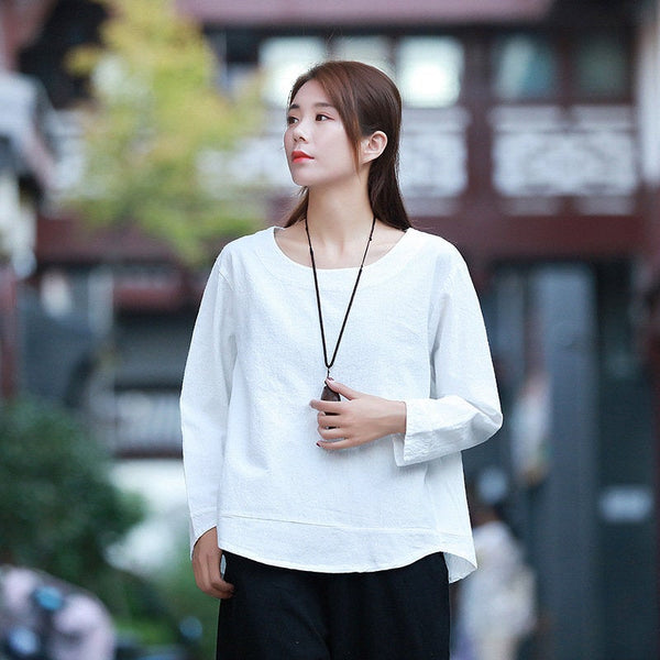 Simple Pure Color Women Linen and Cotton Long Sleeve Blouses