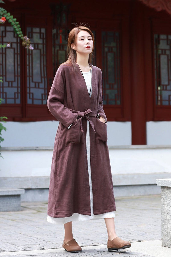 Women Robes Style Linen and Cotton Coat