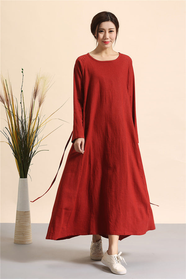 Simple Linen Dress/ Summer Linen Dress/ Ankle Length Dress/ Maternity dress/ Casual dress/ Tent Dress/ Ethnic Hanfu Dress