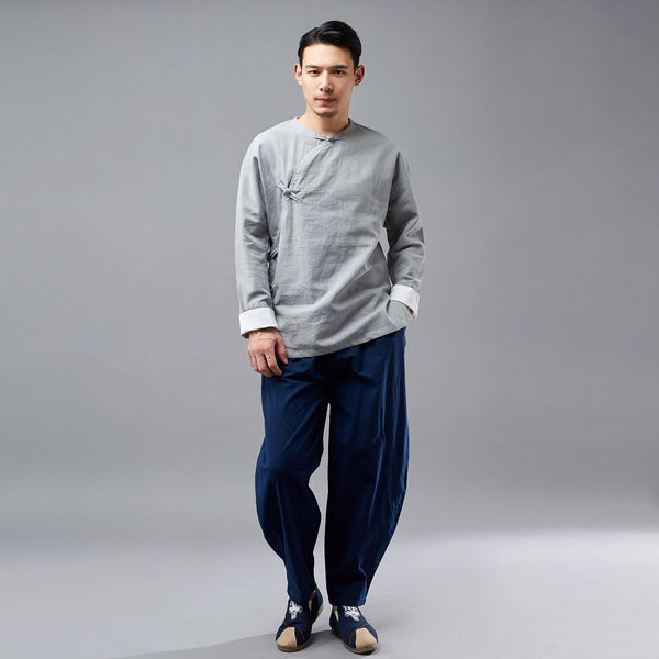 Men Hangfu KungFu Style Linen and Cotton Tops