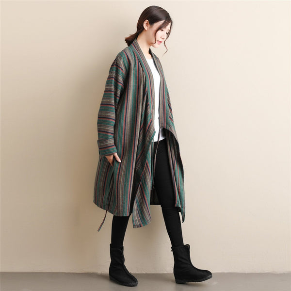 Women Casual linen and Cotton Striped Shrugs