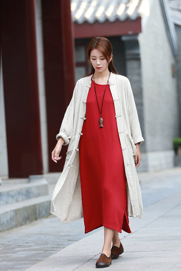 Women Eastern Style Linen and Cotton Coat