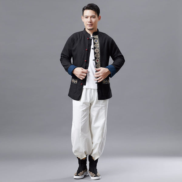 Men Asian Traditional Hanfu Style Men Linen Jacket (inner with velvet)