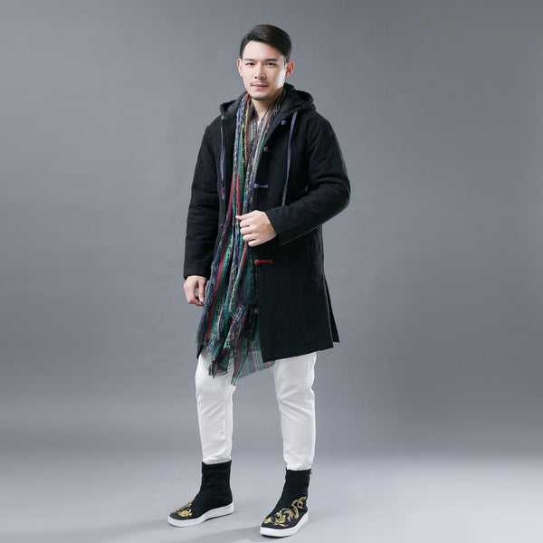 Men Colorful button Linen and Cotton Middle Length Coat Hoodie