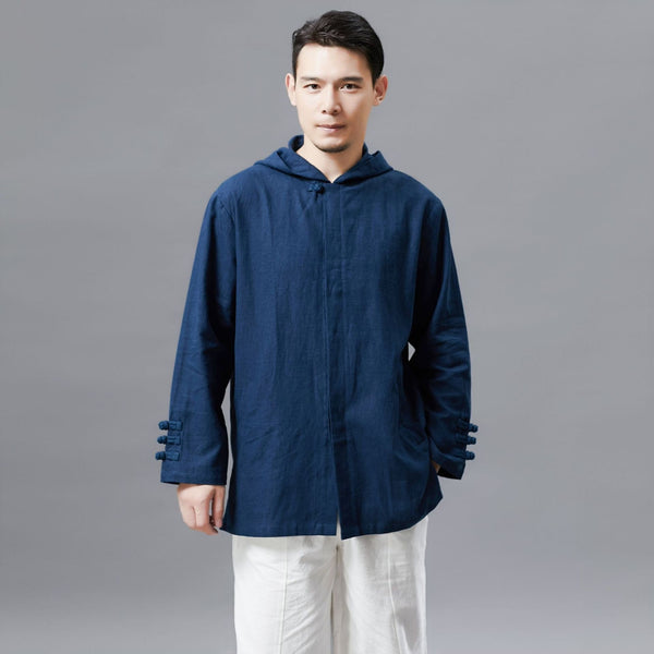 Men Simple Pure Color Linen and Cotton Coat/Jacket Hoodie