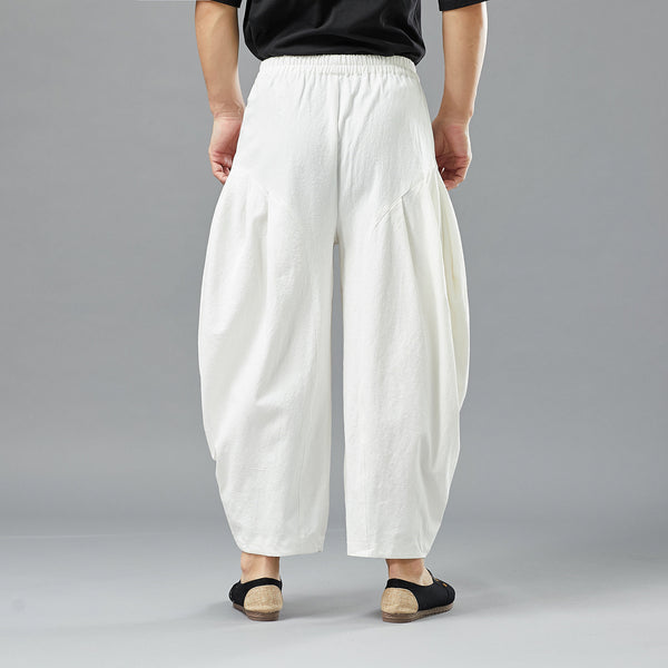 2019 NEW! Men Casual Linen Lantern Cropped Pants | New Style Linen Crotch Dancing Men Pants