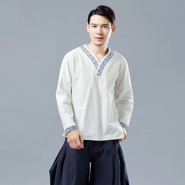 Men Chinese Style V-neck Linen and Cotton Pullover Top