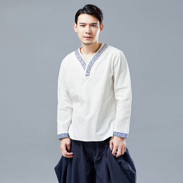 2019 NEW! Men Chinese Style V-neck Linen and Cotton Pullover Top