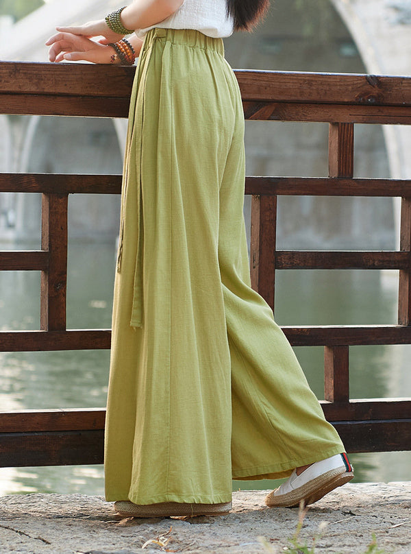 2019 NEW! Women Yoga Palazzo Style Linen and Cotton Lantern Palazzo Wide Leg Dancing Pants