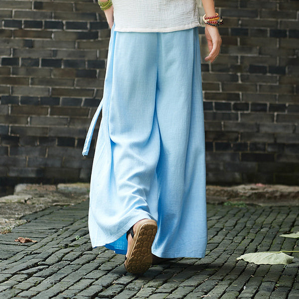 Women Yoga Palazzo Style Linen and Cotton Lantern Palazzo Wide Leg Dancing Pants