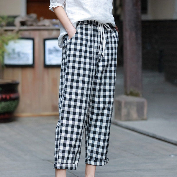 Women Linen and Cotton Casual Cropped Loose Plaid Small Leg Pants