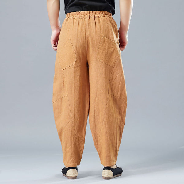 2019 NEW! Men New Style Causal Linen and Cotton Small Leg Bloom Pants