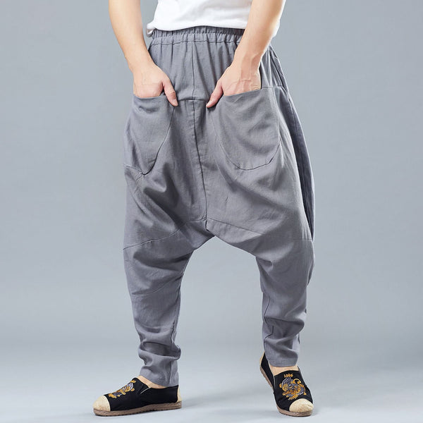 2019 NEW! Men Casual Front and Back Pockets New Style Linen Crotch Dancing Pants