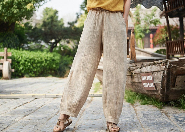 Women Linen and Cotton Retro Loose Style Women Ankle Length Trousers