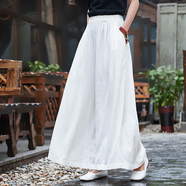 Women Linen and Cotton Sand Washed Yoga Style Wide Leg Opening Pants