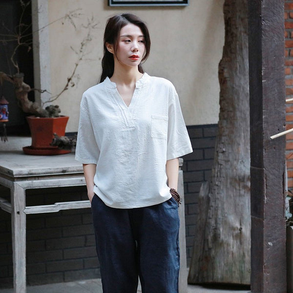 Simple Pure Color Retro Style Women Half Sleeve Linen and Cotton V Neckline T-shirt