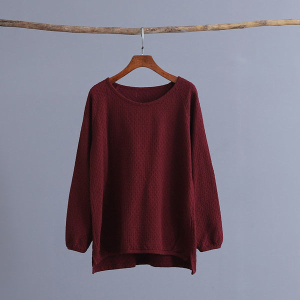 Simple Linen and Cotton Round Neckline Textured Long Sleeved Tops