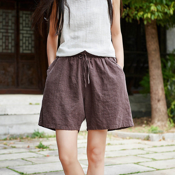 Women Natural Ramie Linen Sand Washed Wide Thigh Opening Shorts