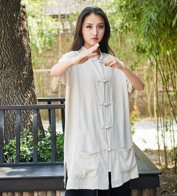 2019 Autumn NEW! Retro Asian Style Linen and Cotton Women Short Sleeve Cardigan Blouses