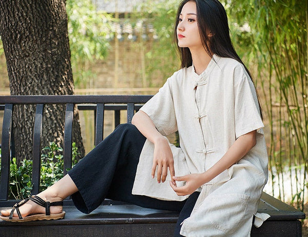 Retro Asian Style Linen and Cotton Women Short Sleeve Cardigan Blouses