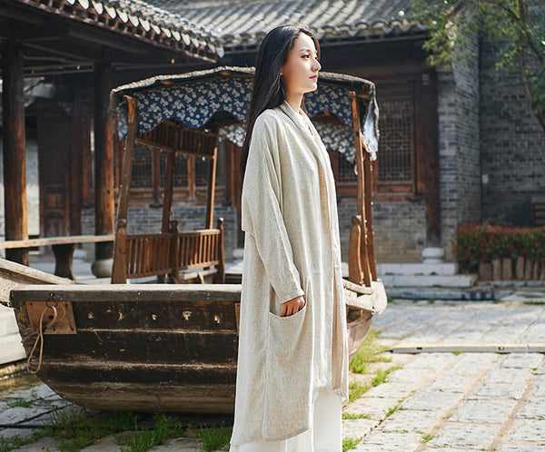 Women Pure Color Simple Linen and Cotton Coat