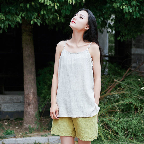 2019 NEW! Retro Asian Style Pure Color Women Simple Linen and Cotton Tank