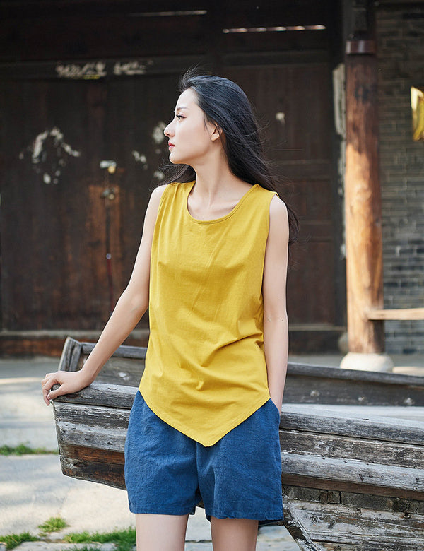 Modern Style Women Simple Pure Color Women Linen and Cotton Tank