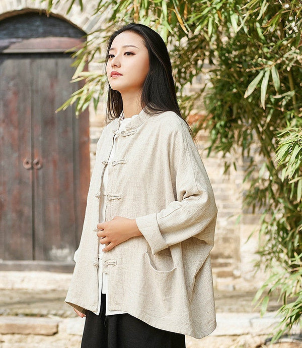 2019 Autumn NEW! Retro Asian Style Linen and Cotton Long Sleeve Women Cardigan Blouses