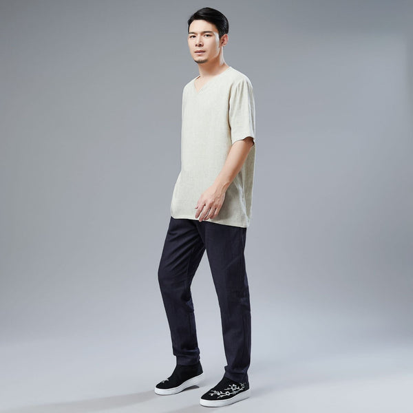 Men Simple Style Linen and Cotton V-neck Short Sleeved T-shirt