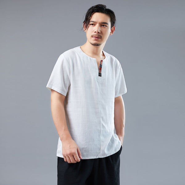 Men Asian Style Men Casual Linen and Cotton Short Sleeved T-shirt Tops