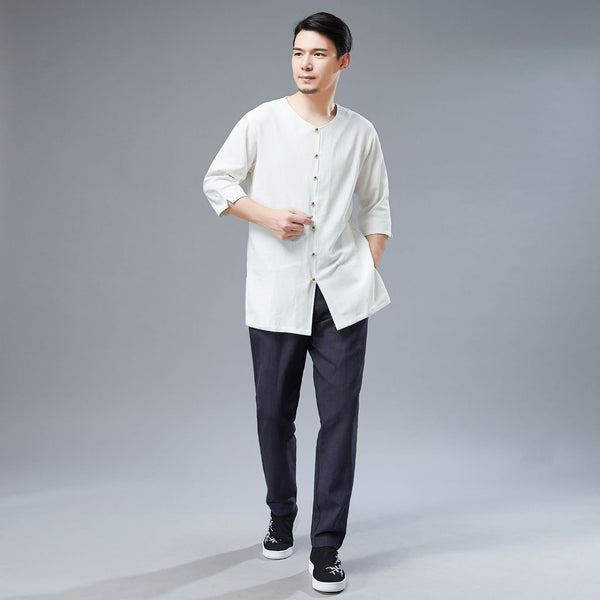 2019 NEW! Men Simple Style Water-washed Hanfu Style Linen and Cotton Half Sleeved Cardigan Tops