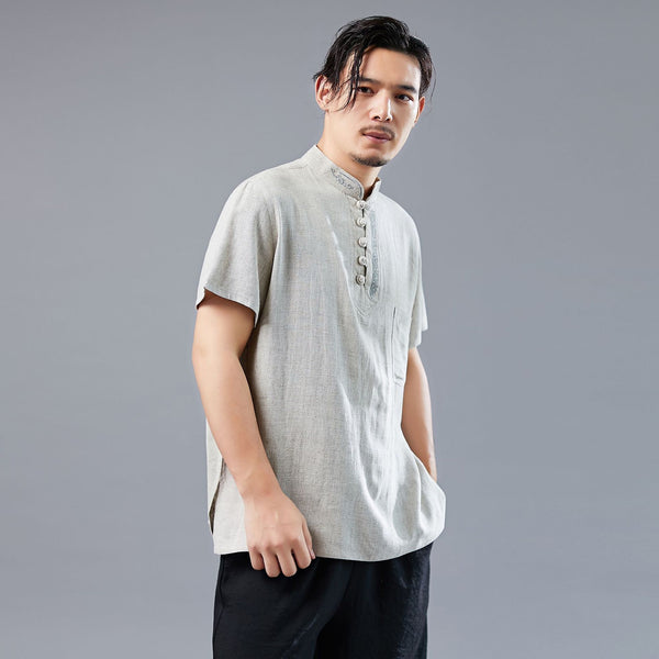 Men Asian Style Sand-Washed Short Sleeved T-shirt with Pocket Tops