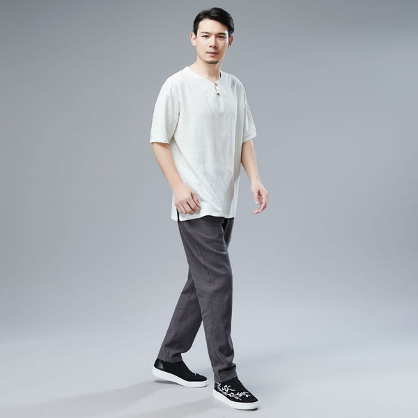 Men Asian Style Sand-Washed Casual Linen and Cotton Round-Neck Short Sleeved T-shirt Tops
