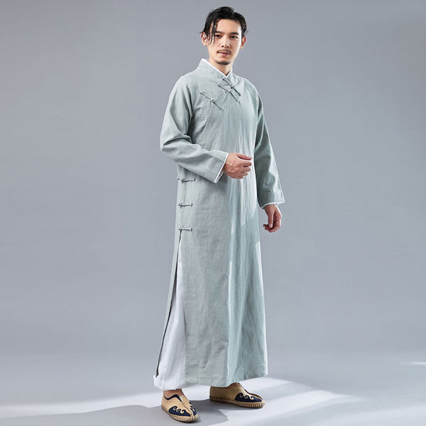 Men Modern Retro Asian Style Linen and Cotton Long Sleeved Cheongsam Long Shirts