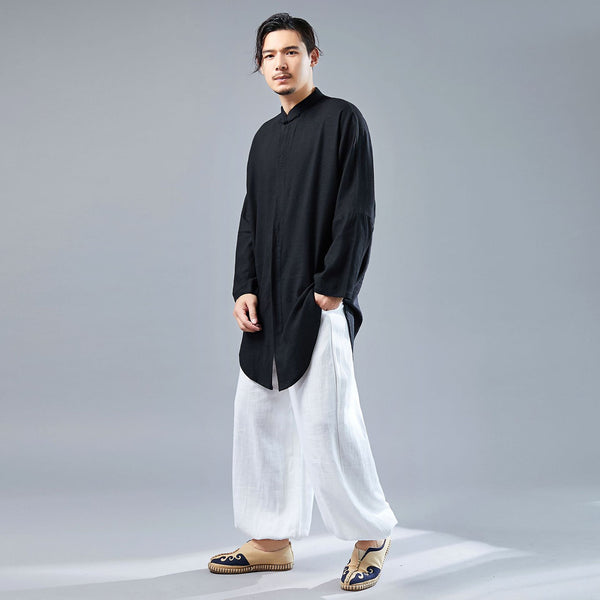 Men Tai Chi Loose Style Water-washed Linen Long Sleeved Cardigan Long Shirts