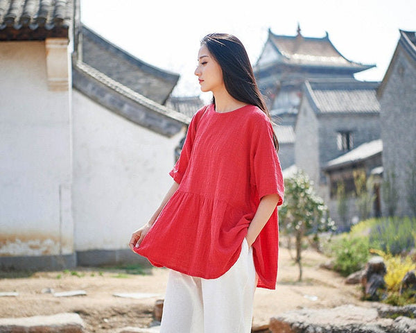 Pure Color Asian Style Women Half Sleeve Linen and Cotton Blouses
