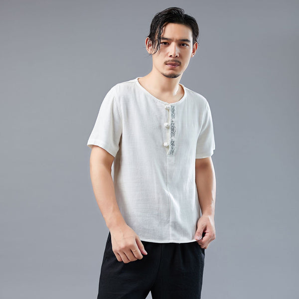 Men Asian Style Linen and Cotton Round-neck Short Sleeved T-shirt