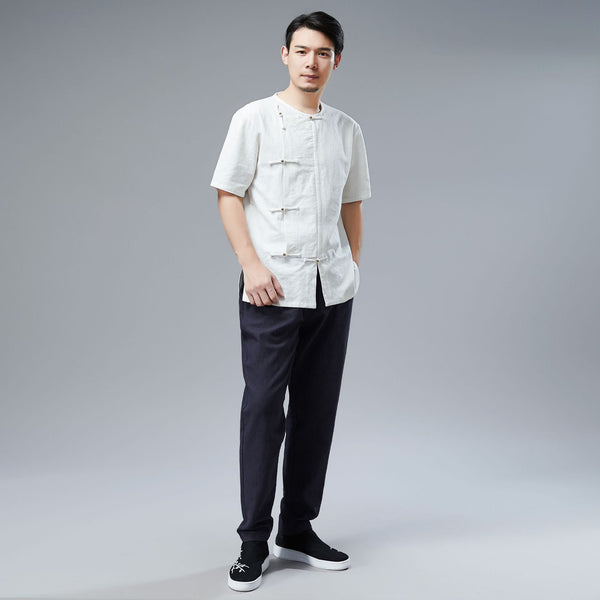 2019 NEW! Men Retro Asian Style Water-washed Linen and Cotton Short Sleeved T-shirt Tops