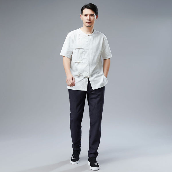 Men Retro Asian Style Water-washed Linen and Cotton Short Sleeved T-shirt Tops