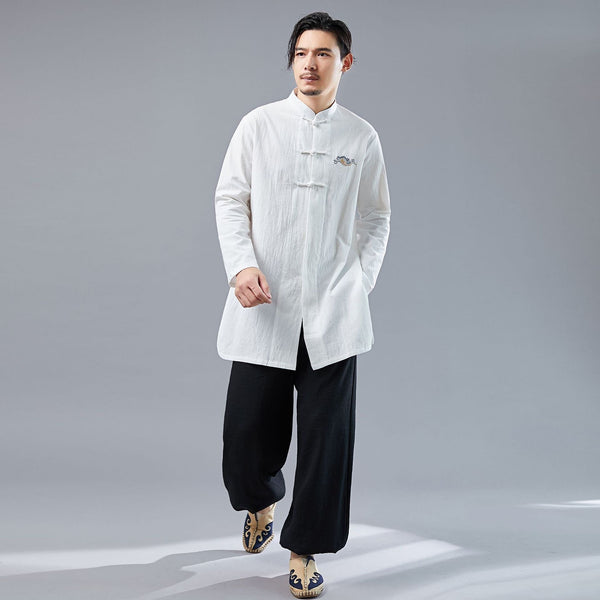 Men KungFu Style Water-washed Linen and Cotton Long Sleeved Cardigan Middle Long Shirts