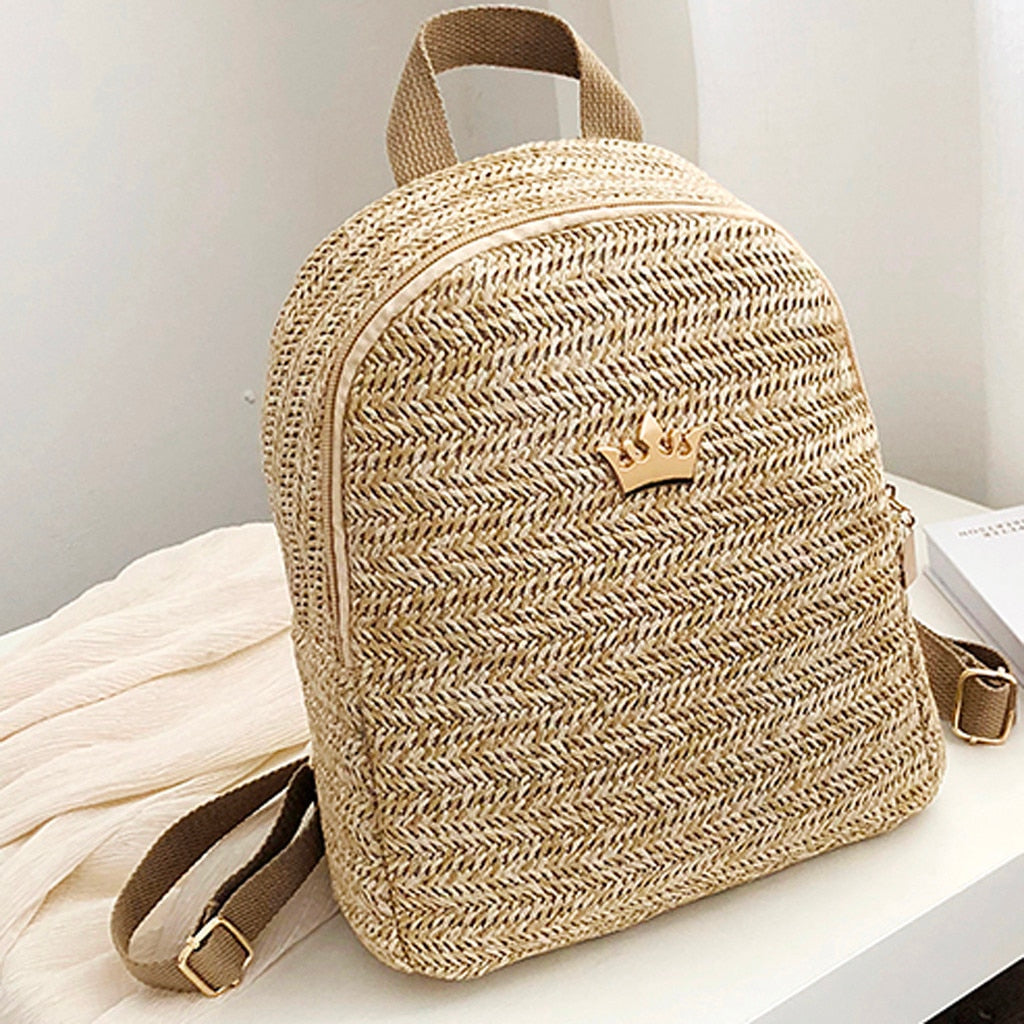 Women woven Backpack School Rattan bag Student