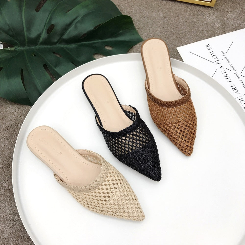 Low Heel Rattan Shoes