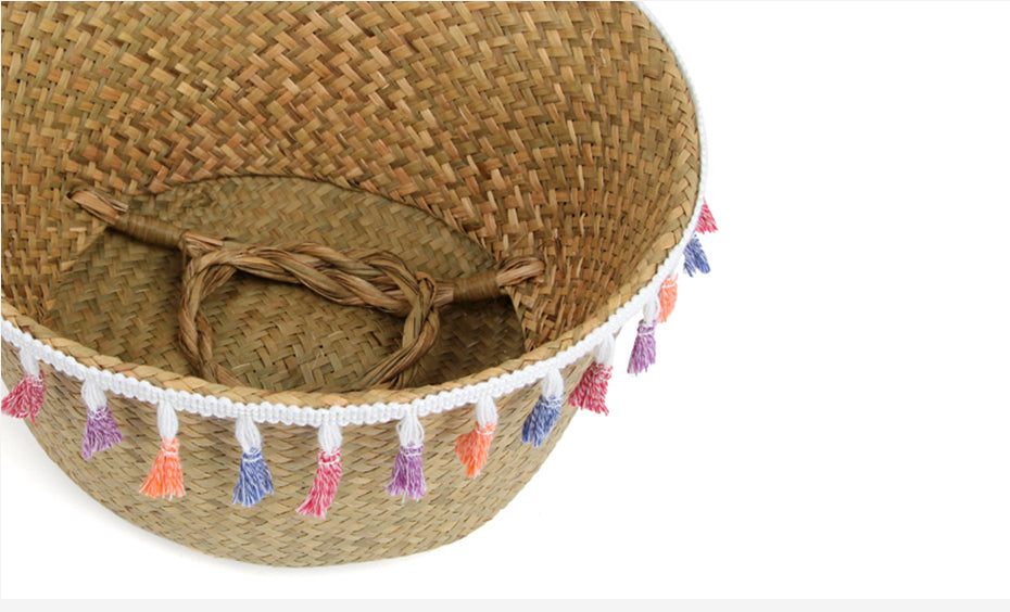 22x20 Seagrass Wickerwork Basket Rattan Foldable Hanging Flower Pot Planter