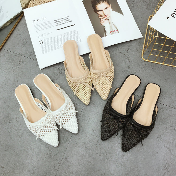 NIU Women Pointed Woven Flat Shoes