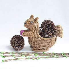 Cute Hand-Woven Squirrel Storage Basket