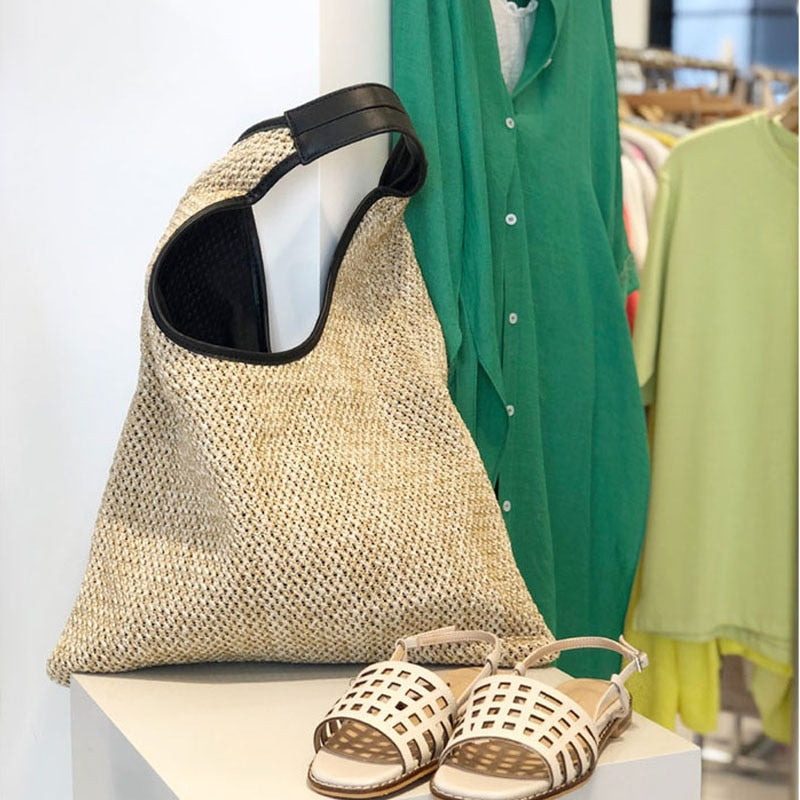 Fashion Rattan Women Shoulder Bags Wicker Woven Straw Bag Large Capacity