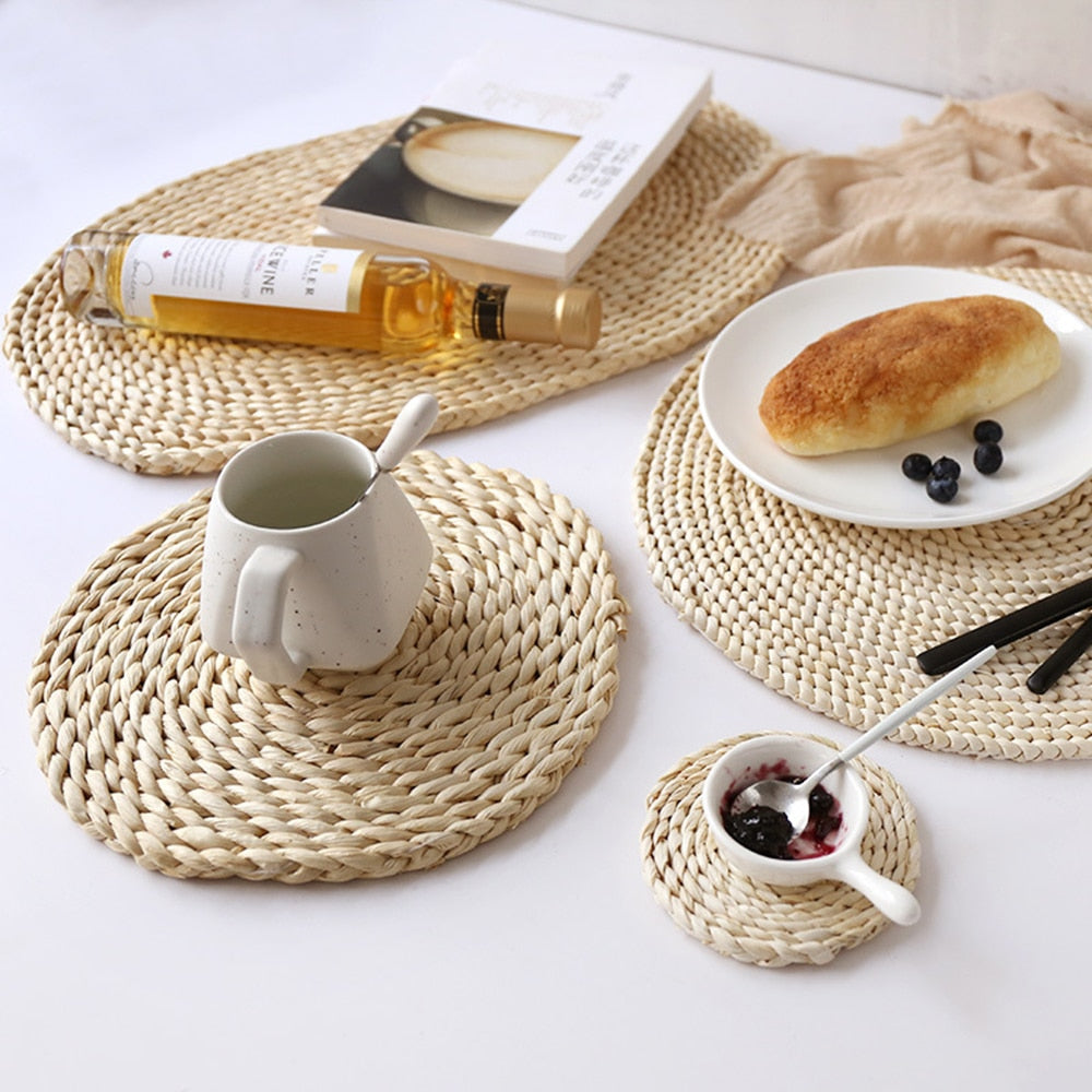Round Rattan Placemats Natural Corn