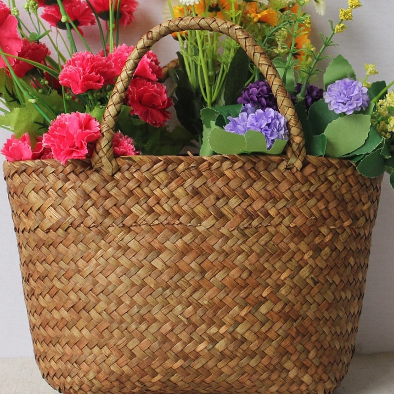 Straw Bag Natural Wicker Handmade