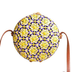 New Round Straw Bag Circle Rattan
